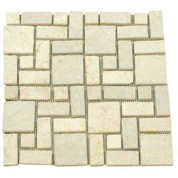 Mramorová mozaika DIVERO krémová obklady 11 ks - 1m² D01130