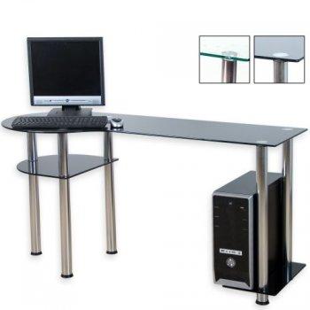 Skleněný počítačový stůl BASIC černý M02014