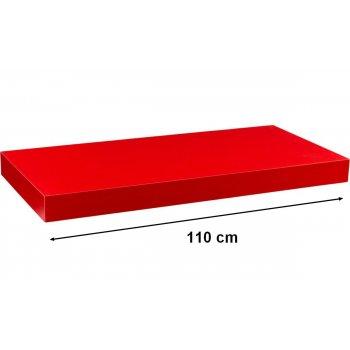 Nástěnná police STILISTA VOLATO - červená 110 cm