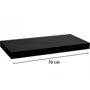 Nástěnná police STILISTA VOLATO - lesklá černá 70 cm