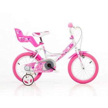 bílá, růžový potisk 14 2017 dětské kolo