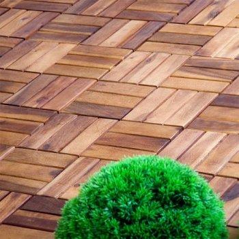 Dlaždice z akátového dřeva, 30 x 30 x 2,4 cm (11 ks)