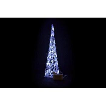 Vánoční dekorace - Akrylový kužel - 60 cm, studeně bílé na baterie D00194