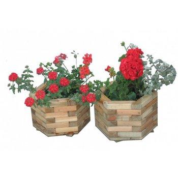 Dřevěný dekorativní 6-ti úhelný květináč malý