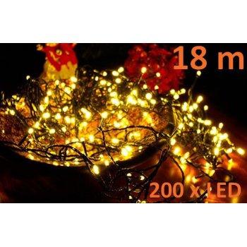 Vánoční LED řetěz - 18 m, 200 LED, teple bílý