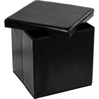 Taburet s úložným prostorem, černý M02493