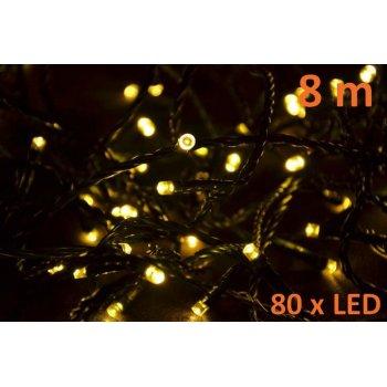 Vánoční LED osvětlení 8m - teple bílé, 80 diod D06001