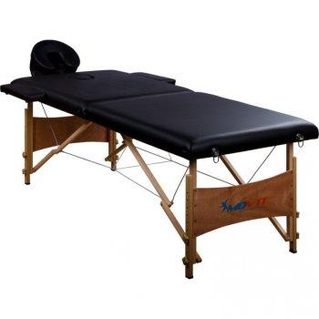 Přenosné masážní lehátko černé MOVIT 184 x 70 cm M01332