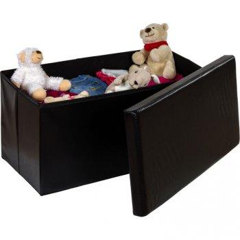 Skládací lavice s úložným prostorem - černá