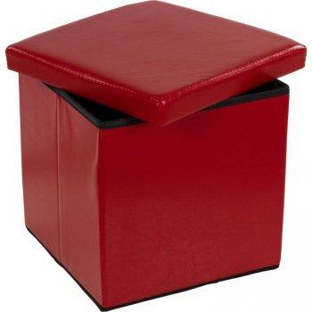 Taburet s úložným prostorem tmavě červený M02495