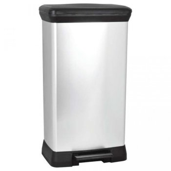 Odpadkový koš DECOBIN pedal 50l - stříbrný CURVER R32825