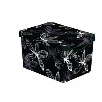Plastový úložný box DECO - L - black flower CURVER R33025