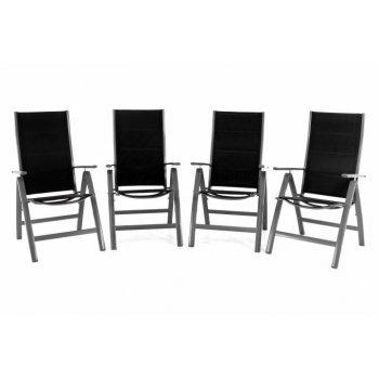 Sada čtyř zahradních hliníkových židlí DELUXE - černá D40773