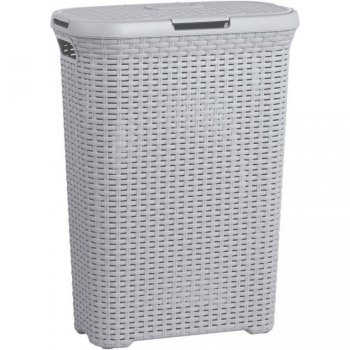 Koš na prádlo s víkem STYLE RATTAN 40L koš na prádlo - šedý CURVER R41080