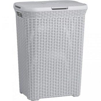Prádelní koš s víkem STYLE RATTAN 60L koš na prádlo - šedý CURVER R41079