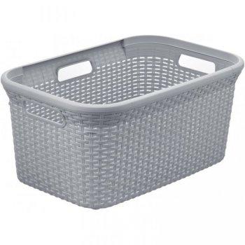 Koš na čisté prádlo RATTAN STYLE 45L - šedý CURVER R41081
