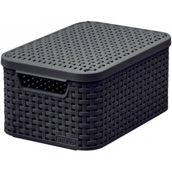 Košík box s víkem - S - tm.hnědý CURVER
