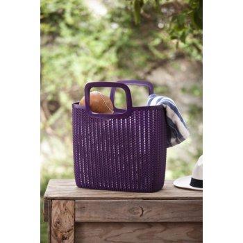 Taška nákupní, imitace háčkování -fialová CURVER