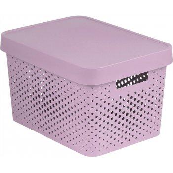 Úložný box s víkem plastový 17L - růžový CURVER R41170