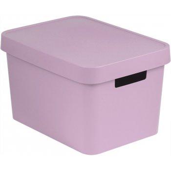 Úložný box plastový s víkem 17L - růžový CURVER R41166