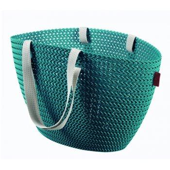 Taška nákupní,pikniková  bag  imitace háčkování- modrá CURVER