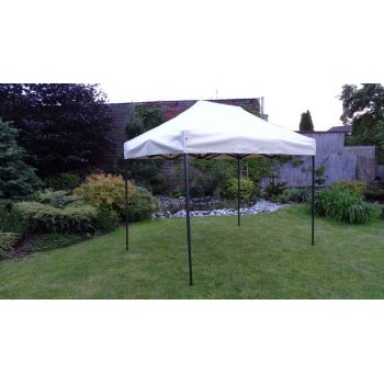Zahradní párty stan DELUXE nůžkový + boční stěna - 3 x 4,5 m smetanová