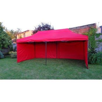 Zahradní párty stan DELUXE nůžkový + boční stěny - 3 x 6 m červená