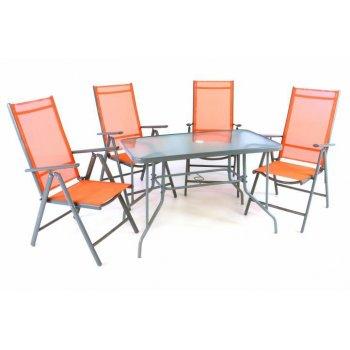 Zahradní skládací set stůl + 4 židle - oranžová D41630
