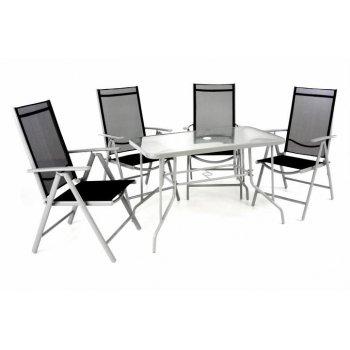 Zahradní skládací set stůl + 4 židle - černá D40988