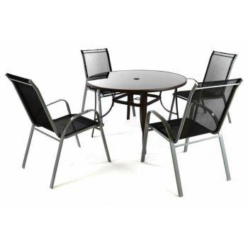 Zahradní set - 4 židle a stůl - černá D41675