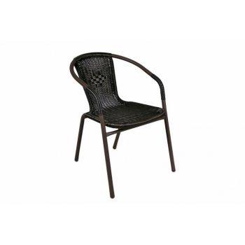 Polyratanová zahradní židle Garth - tmavě hnědá D02322