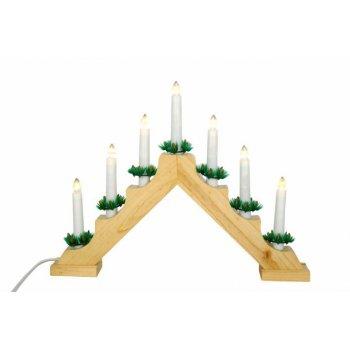 Vánoční dekorace - Klasický dřevěný svícen - 7 LED diod, teple bílé D29213