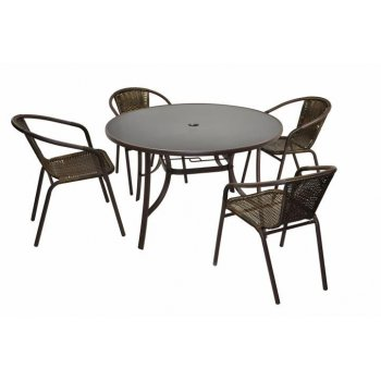 Bistro stolek a 4 židle z polyratanu Garth