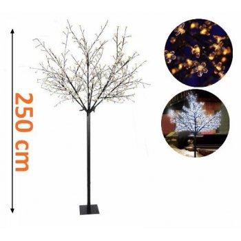 Vánočná dekorace - strom s kvítky - 250cm, teple bílá