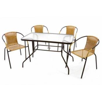 Zahradní set polyratanové 4 židle a skleněný stůl D37024