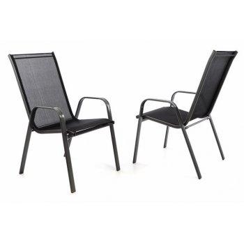 Zahradní sada 2 x stohovatelná židle balkonová - černá