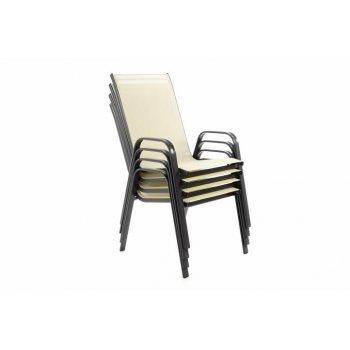 Zahradní sada 4 x stohovatelná židle balkonová - krémová