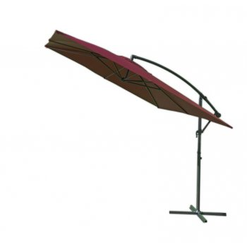 Čtvercový slunečník kovový - bordó 270 x 270 cm