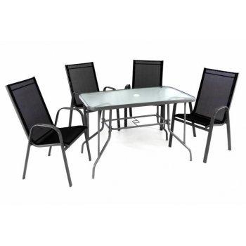 Zahradní skládací set stůl + 4 stohovatelné židle - černá D40751