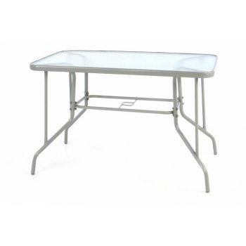 Zahradní obdélníkový stůl BISTRO se skleněnou deskou - šedá D39230