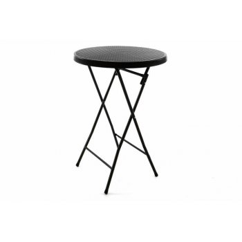 Zahradní barový stolek kulatý - ratanový vzhled 110 cm - černý