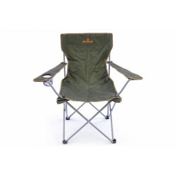 Skládací rybářská židle s držákem nápojů - tmavě zelená D40780