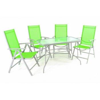 Zahradní skládací set stůl + 4 stohovatelné židle - zelená D40990