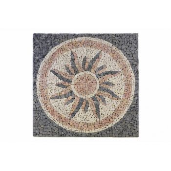 Mramorová mozaika - motiv slunce obklady  120x120