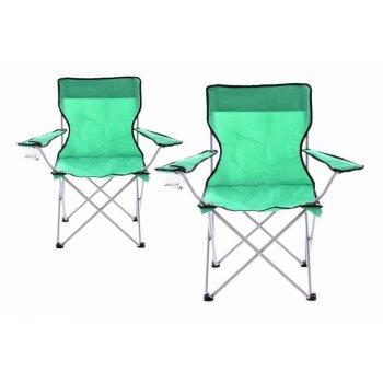 Sada 2 ks Skládací kempinková rybářská židle OXFORD - zelená D43247