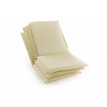 Sada 4 ks polstrování na nízké zahradní židle - krémové D45824