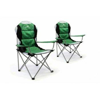 Sada 2 ks skládací kempingová rybářská židle Divero Deluxe - zeleno/černá D35957