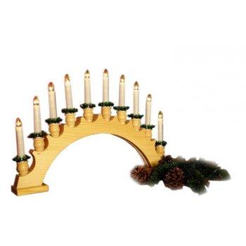 Vánoční dekorace - dřevěný svícen - oblouk 46 cm D01115