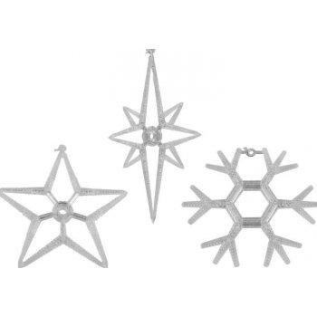 Vánoční dekorace na okno - sada 3 hvězda a vločka LED D32828