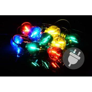 Zahradní párty osvětlení LED - skleněné žárovky - 5 m barevné D40612